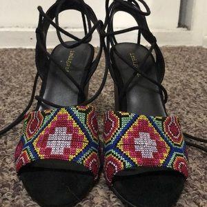 Índigo Rd. print lace up heels